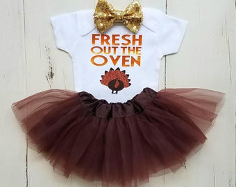 Thanksgiving Outfit, Baby Girl 1st Thanksgiving Outfit, Girl Thanksgiving Onesie, Fresh Out The Oven, Baby Girl Thanksgiving Outfit, Onesie