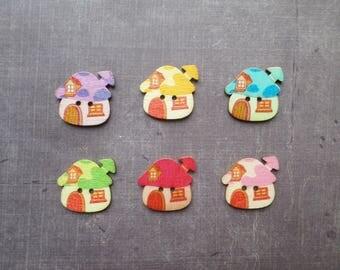 buttons 10 wood shaped little Mushroom House