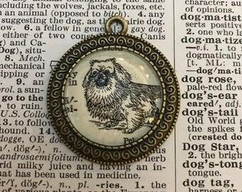 Handmade Vintage Dictionary Dog Necklace - Pekingese