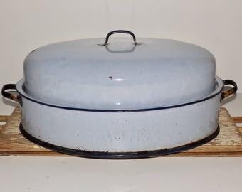 "Savory light blue enamel roasting pan,black trim,lid,large turkey roaster,savory enamelware,enamelcookware,18""x12"",double wall,2handles"