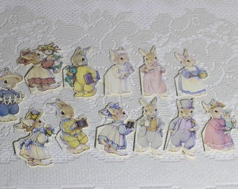 Gift Card Tags B. Shackman Set of 12 Different Die-Cut The Hopper Family 1991 by Kathy Lawrence for Easter or Year Around