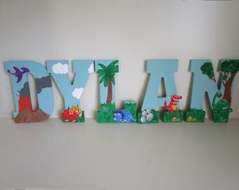 Dinosaur themed kids name letters, dinosaur room edcor, nursery room baby letters, baby shower gifts for boys