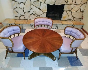 3 Mid Century Lavender Tufted Barrel Back Lounge Chairs & Mahogany Coffee Table Hollywood Regency