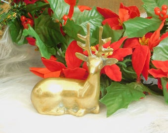 Vintage Solid Brass Reindeer Statue, Deer, Christmas Decoration, Holiday Display, Buffet Accent Ornament, Dining Table Accessory, Mantle