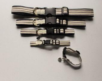 Dog Collar - Blue Striped Dog Collars - 5 sizes, Boy or Girl Dog Collar