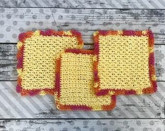 Dishcloth Set, Washcloth Set, Crochet Dishcloths, Crochet Washcloths, Facial Cloths, Gift Set, Large Dishcloths