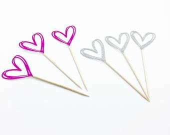 12 Heart cupcake toppers - set of 12