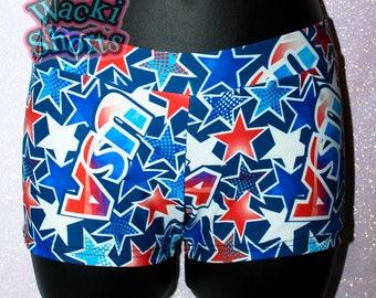 Red White and Blue Patriotic - USA - Wacki Shorts  - Cheer, Gymnastics, Yoga, Dance
