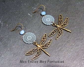 Earrings Bohemian Dragonfly Bronze ღ ღ print blue rosette and pearls has facet