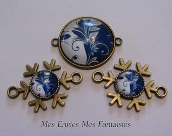 3 bronze connectors for Cabochons 25 and 12mm + 3 blue and white flower glass cabochons B14