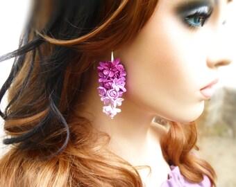 Purple earrings Flowers dangle earrings Lilac earrings Long earrings Pink earrings Gift for women Big earrings Purple flower earrings
