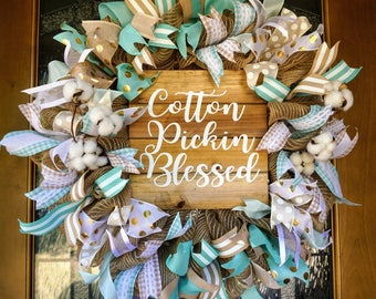 Cotton Wreath, Cotton Bohl Wreath, Spring Wreath, Summer Wreath, Mint Wreath, Cotton Door Hanger, Rustic Wreath