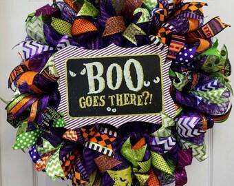 Halloween Wreath, Halloween Door Hanger, Halloween Mesh Wreath, Halloween Door Decor, Boo Wreath, Boo Mesh Wreath