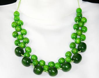 Green statement necklace Fashion Beaded Necklace Chunky Bead Necklace simple jewelry gift idea necklace everyday