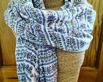 Blockprint scarf/sarong, Blockprint, scarf, sarong, 100% cotton, gifts for her