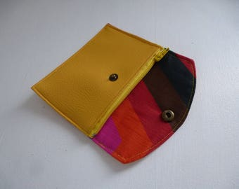 multicolored Interior mustard yellow leather wallet