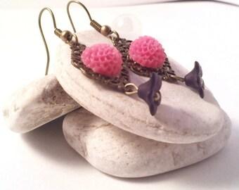 Black and Pink Flower Earrings
