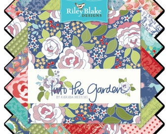 "Into the Garden Layer Cake - Cotton Fabric - Complete Collection by Amanda Herring for Riley Blake - 42 10""x10"" Squares"