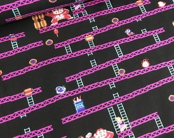 Nintendo Donkey Kong Jumpman's Ascent Cotton Fabric from Springs Creative, DonkeyKong, Video Game
