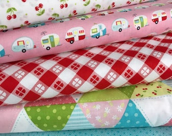 Bundle of 5 Fabrics from the Glampericious Collection by Samantha Walker for Riley Blake, Choose the Cut, Travel Trailer, RV, Glamping