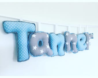 Personalized blue and grey name sign,name banner,name bunting,nursery decor,letter bunting,nursery wall hanging,gifts for kids,new baby gift