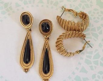 Cleopatra Style UNIQUE Designer Earrings Berebi Egyptian Revival Earrings  King Tut jewelry gold dangle earrings costume jewelry Hoop Earrin