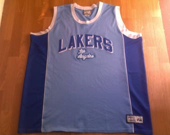 NBA Los Angeles Lakers jersey, vintage Lakers t-shirt blue vintage 90s basketball tank hip hop clothing 1990s hip-hop size 2XL