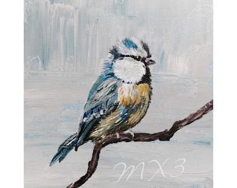 Chickadee Bird Print, Bird Painting, Blue Bird on a Branch, Small Birds, House Warming Gift, Living Room Decor, MX3's Artwork, Gift for Her