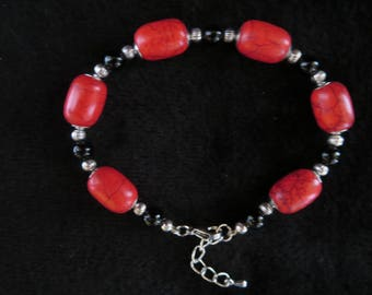 """""""red passion"""" bracelet with onyx beads"""