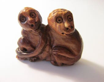 """Carved Boxwood Monkeys Collectible Figurine, 1 1/2"""" tall"""