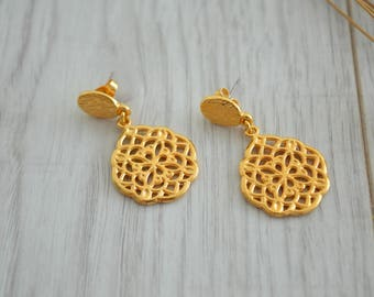 Gold flower of life earrings, gold dangling filigree drop earrings, Silver dangle earrings, boho/ bohemian gypsy tribal ethnic earrings