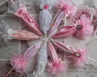 Five umbrella parasol d ornaments worn shabby chic
