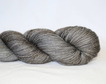 Hand Dyed Yarn - Superwash - Silver Stellina Sock Yarn - 84/16 Merino/Stellina - Tonal - 'Charcoal'