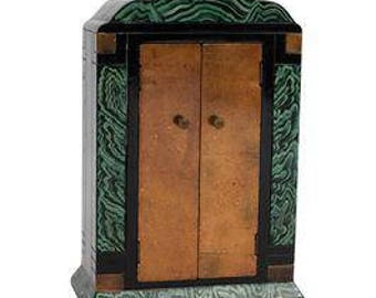 Art Deco Faux Malachite Jewelry Cabinet