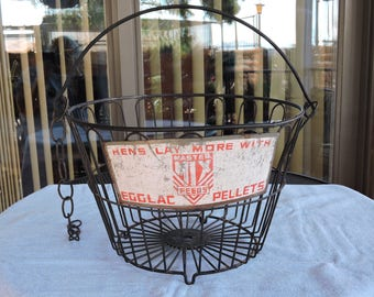 Rare 1940's Wire Egg Basket w Tin Advertising Sign