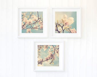 Botanical print sets, Set of three botanical prints, magnolia entryway art decor, pink master bedroom wall art decor, cute apartment decor