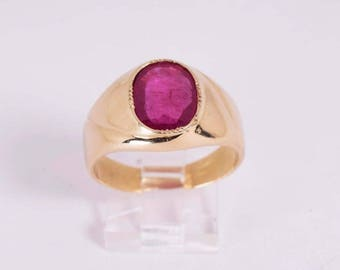 18k Yellow Gold Mens Large Ruby Ring, Size 10