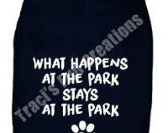 What Happens at the Park Stays at the Park DogTank Top. Small Pet Clothes. Custom Dog Shirts,What Happens at the Park Stays at the Park