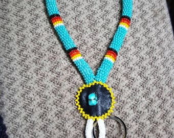 Handmade Native American Beaded Rope Keychain. Made in USA. Perfect for slipping on wrist when away from vehicle so keys aren't misplaced!