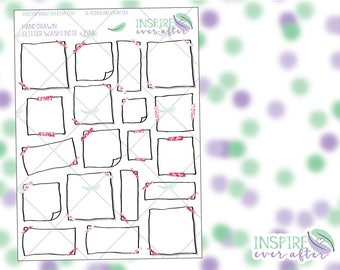 Hand Drawn Pink Glitter Washi ~ Assorted Note ~ Planner Stickers