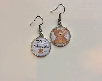 Earrings asymmetric message 100% adorable cabochons