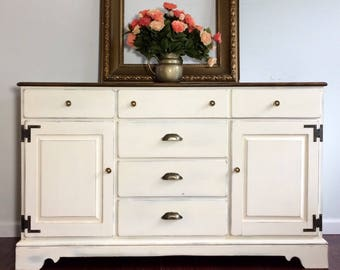Sold     Five Drawer Ethan Allen Maple & Birch Buffet 19.75d 32.75h 54w