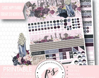 Game of Thrones GOT February 2018 Monthly View Kit Digital Printable Planner Stickers (Happy Planner)|JPG/PDF/Silhouette Compatible Cut File