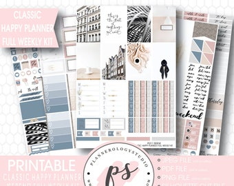 Serene Stock Photography Photographic Full Weekly Kit Digital Printable Planner Stickers | JPG/PDF/Cut Files | For Classic Happy Planner