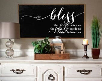 Bless the Food Before Us Wood Sign, 2 ft x 4ft, Farmhouse Style, Modern Decor, Dining Room Decor, Kitchen Decor, Wedding Gift