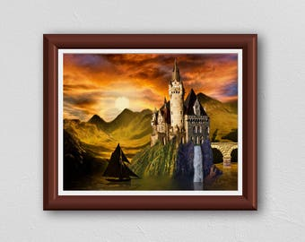 Viking Sunset downloadable signed art for instant printing