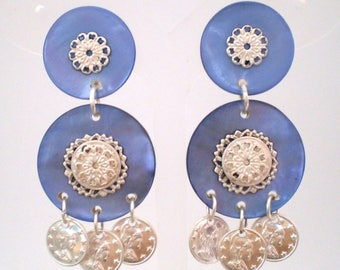 Earring Clips Milan blue (made in France)