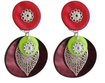Earring clips One red (made in France)