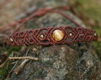 Macrium bracelet, macrium jewelry with Bilderjaspis bead
