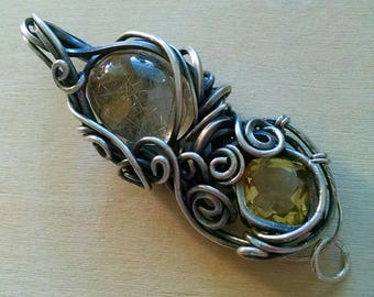 Rutilated Quartz and Citrine Facet,Wire Wrapped, Wire Weave Reversible Pendant/Amulet, Wire Wrap, High-End Fine Silver Wire Wrap Jewelry